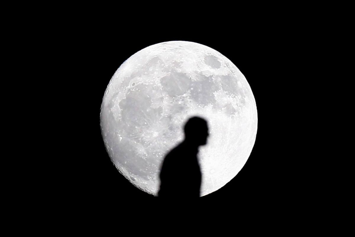An Egyptian fan walking in front of the moon on the eve of the supermoon spectacle.