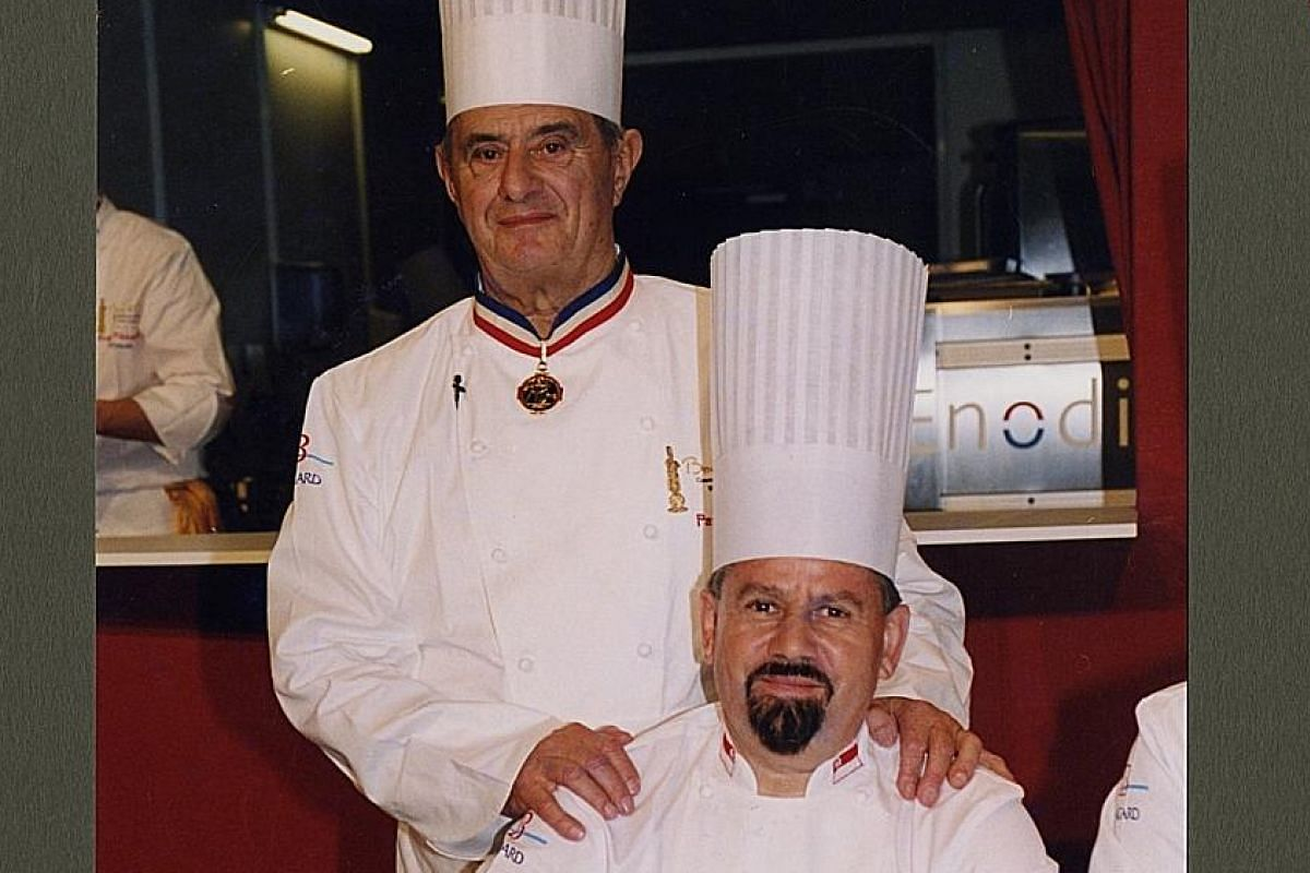 My life so far: Otto Weibel, aged 16, with his family in Switzerland in 1962; and with French chef Paul Bocuse (standing) at the culinary competition Bocuse d'Or in Lyon in 2003.