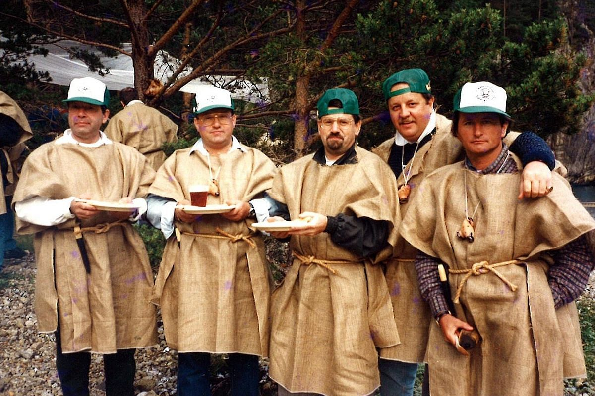 My life so far: Weibel (middle, with green cap and glasses) having a meal with members of his Chefs On Tour club in Norway in 2004. Australian chef Scott Webster is second from right, with green cap.