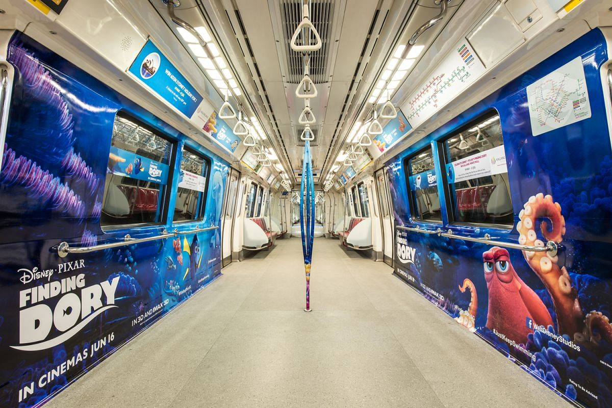 Characters from Disney's Finding Dory were featured on SMRT trains in May 2016.