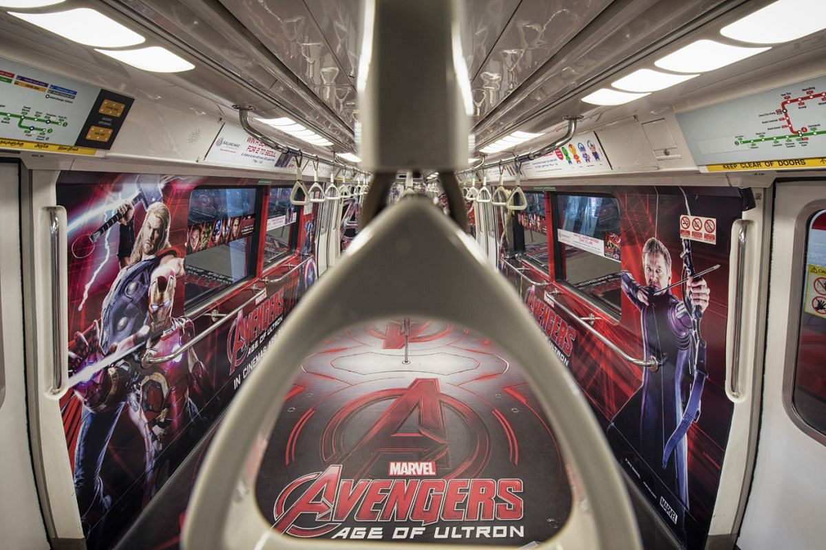 Commuters came up close with the characters from Marvel's Avengers in May 2015.