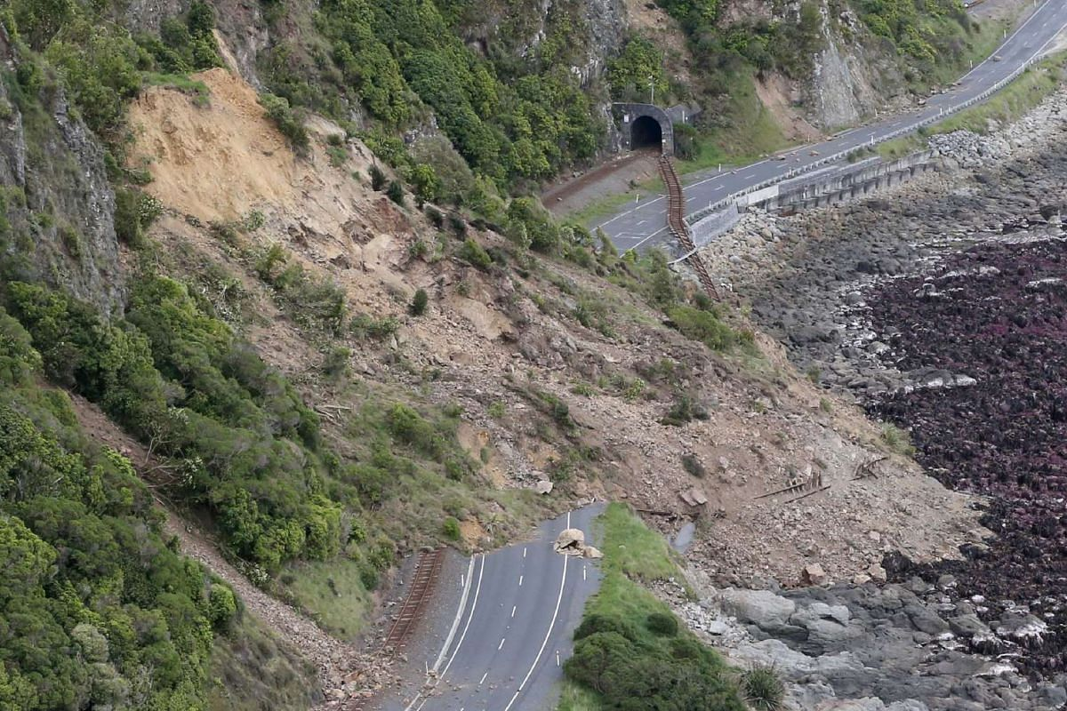 An aerial photo shows earthquake damage to New Zealand's State Highway One near Ohau Point on the South Island's east coast on Nov 14, 2016.