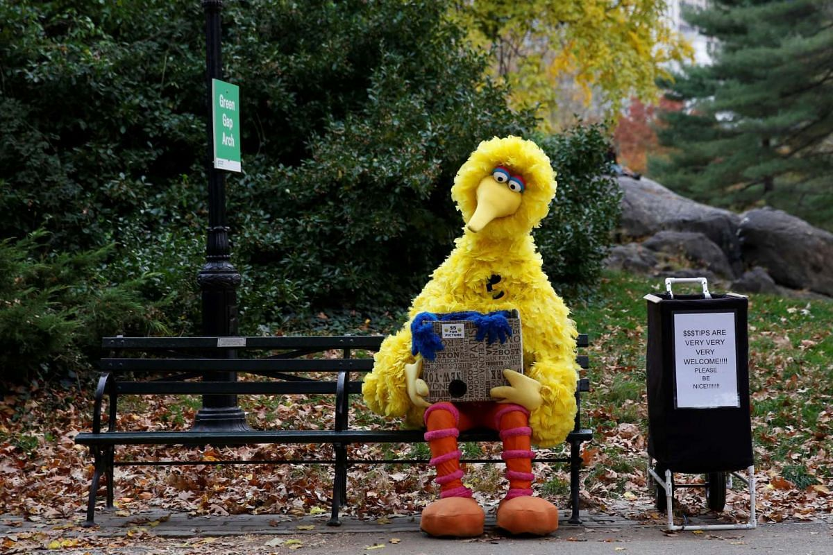 A man dressed as the Sesame Street character Big Bird sits on a bench waiting to take pictures with people walking through Central Park in New York on Nov 14, 2016.