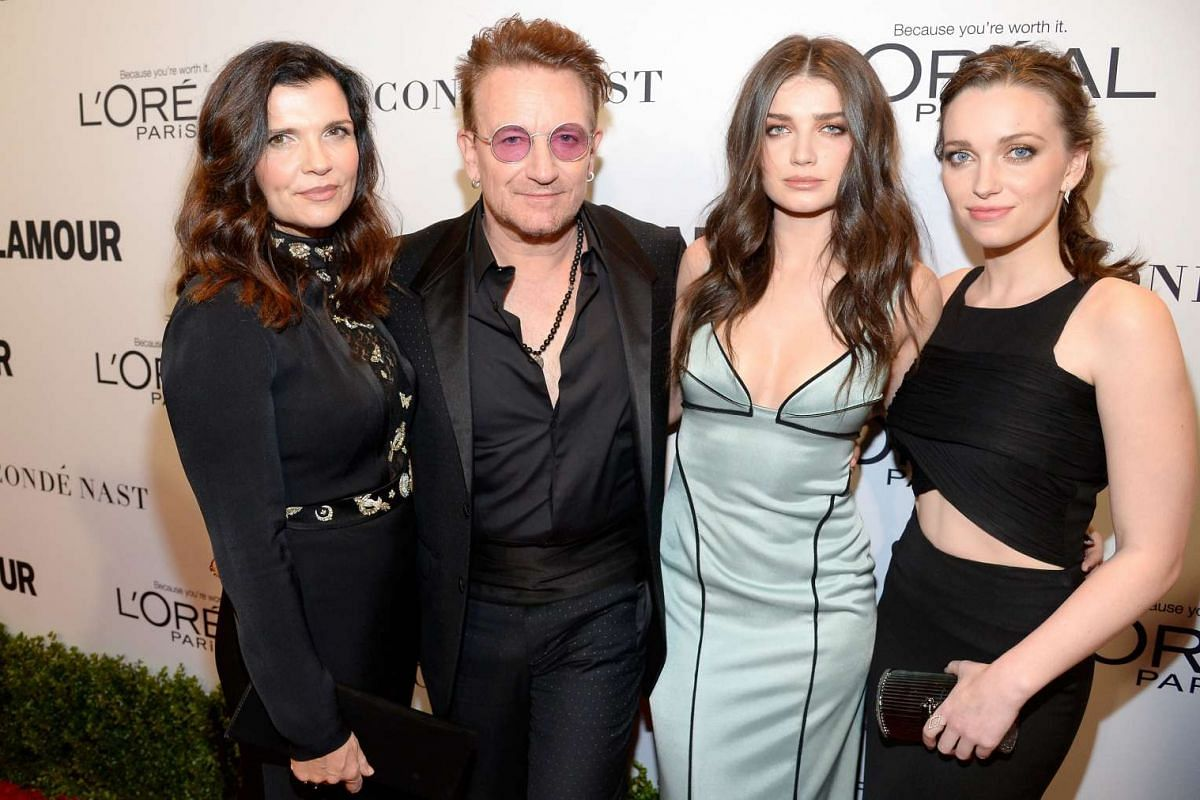 (Left to right) Alison Hewson, honouree Bono, actress Eve Hewson, and Jordan Hewson attend Glamour Women Of The Year 2016 at NeueHouse Hollywood on Nov 14, 2016 in Los Angeles, California.
