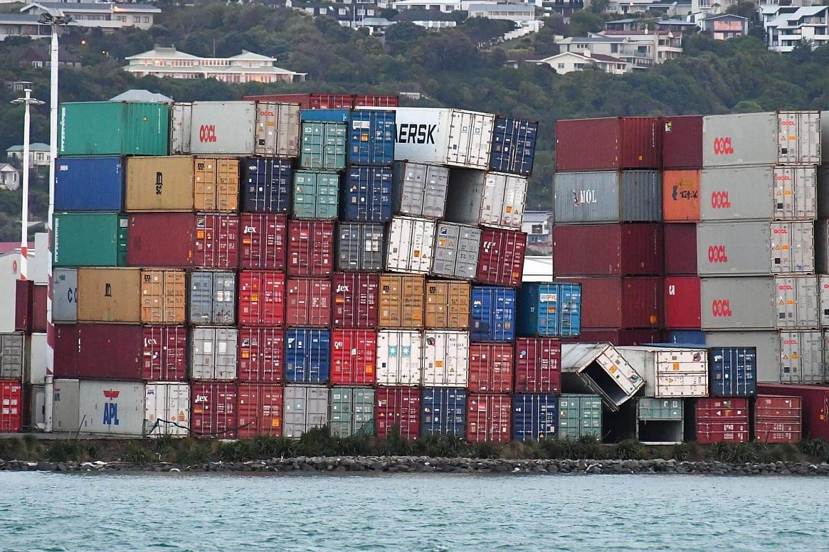 Stacked containers are affected after a 7.5 earthquake based around Cheviot in the South island shock the capital, at Centre Port, in Wellington, New Zealand, on Nov 14, 2016.