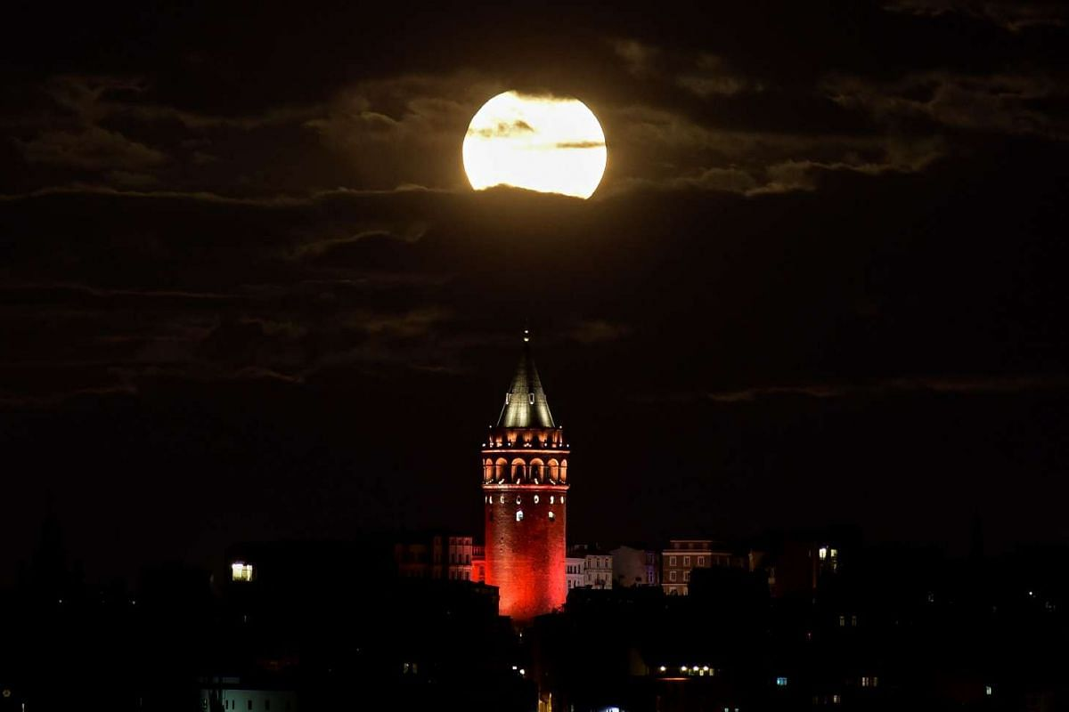 The supermoon is seen over the historical Galata Tower in Istanbul, Turkey, on Nov 14, 2016.