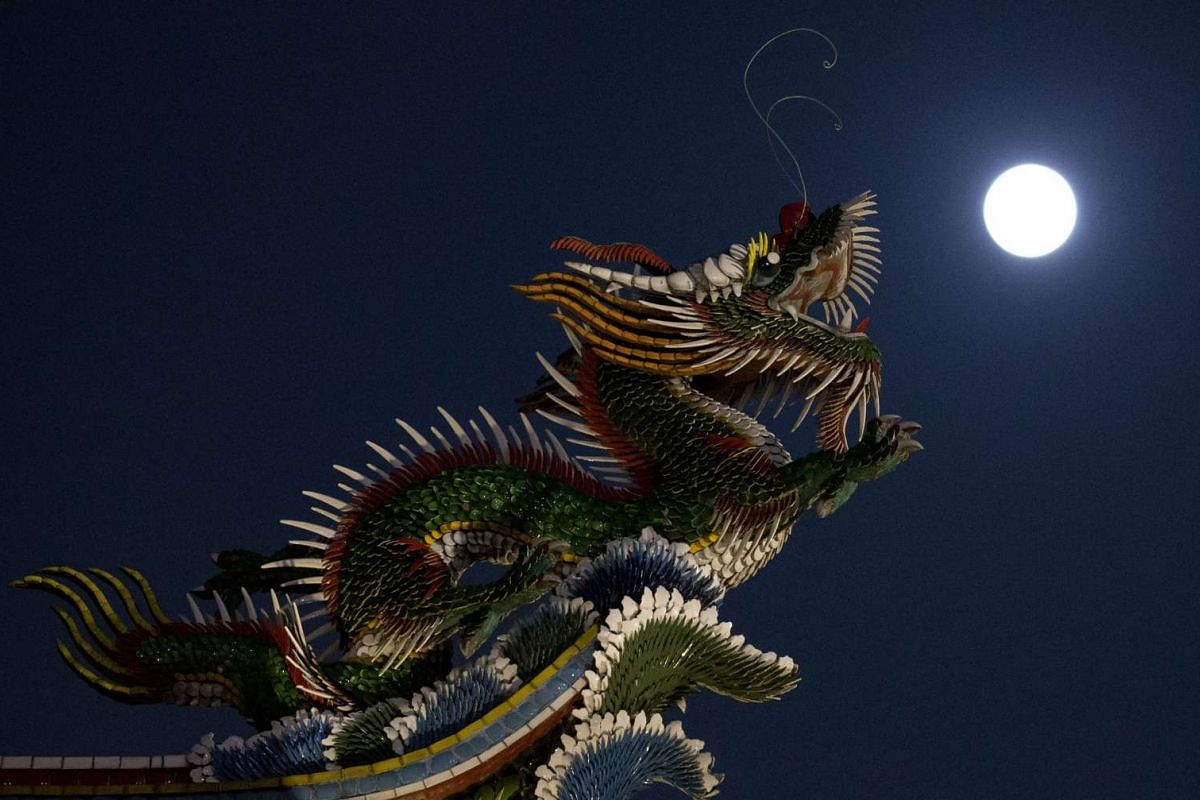 A supermoon rises over Taipei, Taiwan, on Nov 14, 2016.