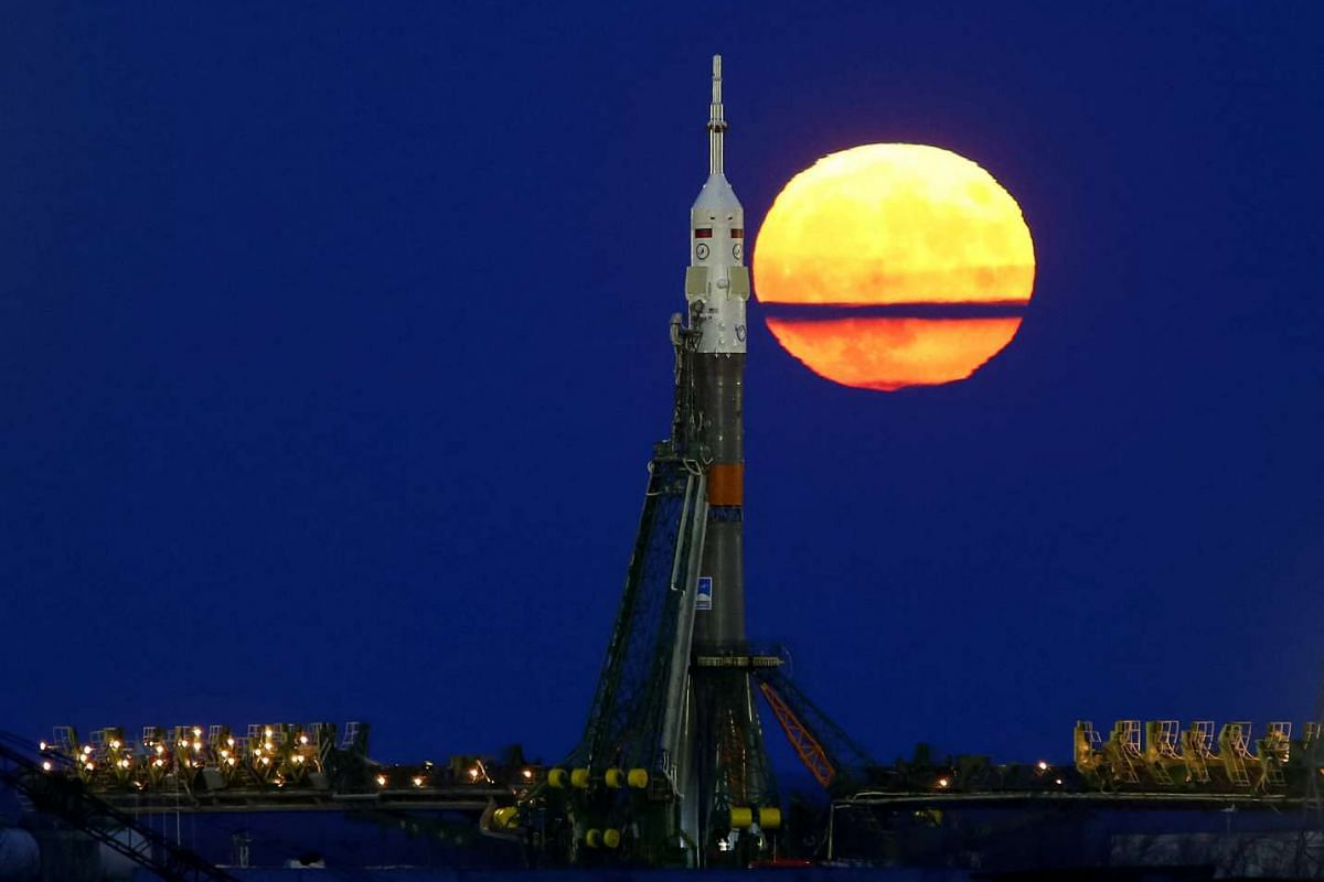The supermoon rises behind the Soyuz MS-03 spacecraft at the Baikonur cosmodrome in Kazakhstan on Nov 14, 2016.