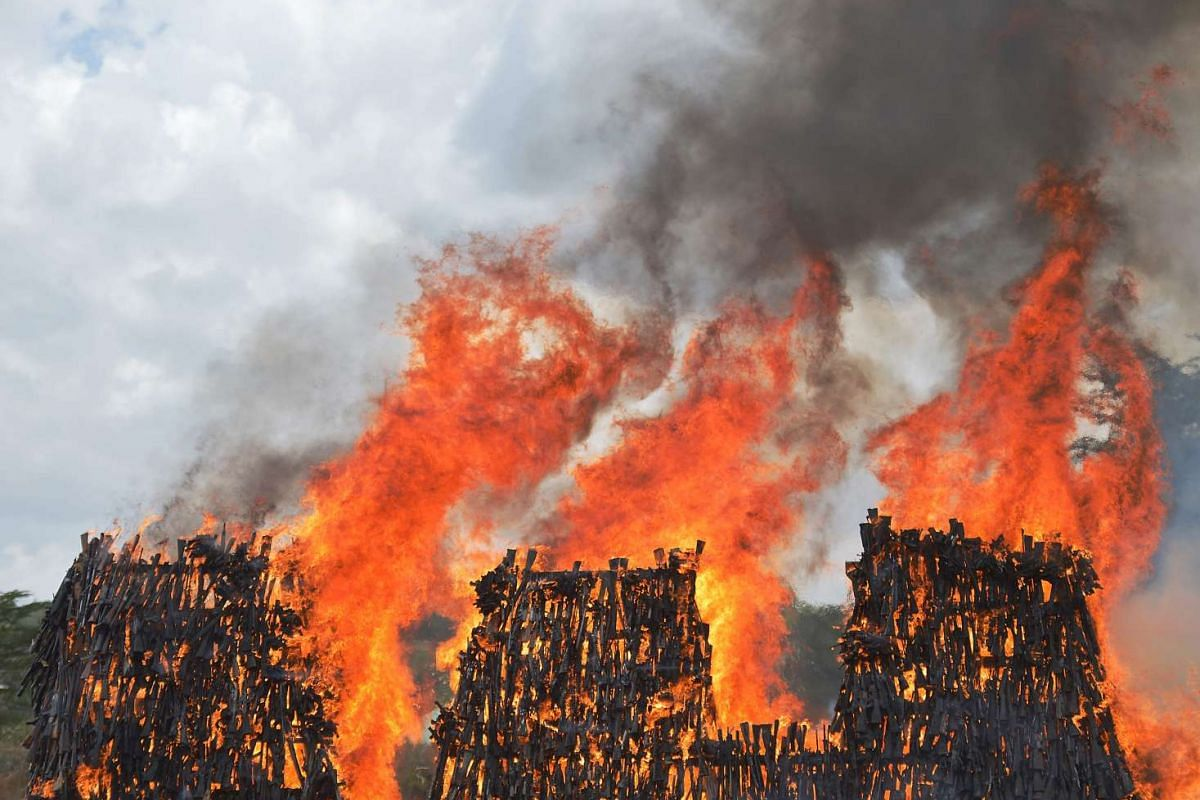 A stockpile of illegal arms confiscated from a variety of criminals goes up in smoke in Ngong in Kajiado county on November 15, 2016 as a demonstration of the Kenyan government's commitment to combat armed crime in the east african nation. PHOTO: AFP