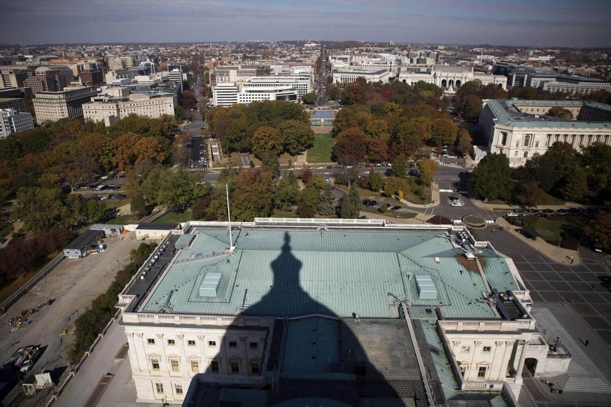 A view of the Senate in the shadow of the US Capitol dome after the successful completion of the US Capitol Dome Restoration Project in Washington, DC, US, on Nov 15, 2016.