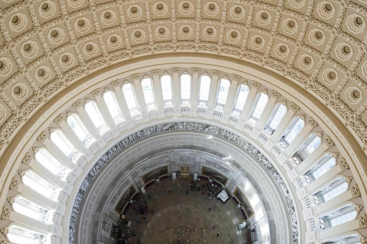 The Rotunda of the US Capitol is seen from the newly-restored Capitol Dome in Washington, DC, on Nov 15, 2016.