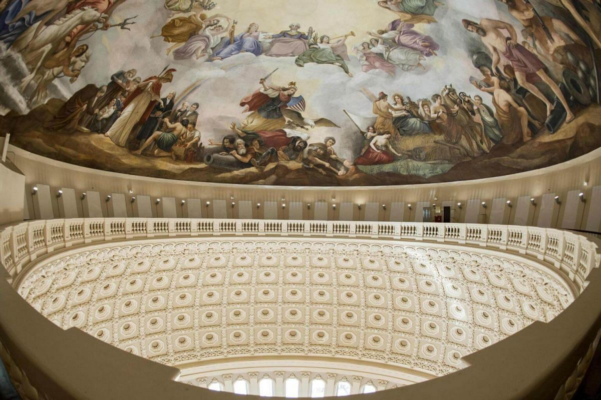 The Apotheosis of Washington, a fresco painted at the top of the newly-restored Capitol Dome, is seen at the US Capitol in Washington, DC, on Nov 15, 2016.