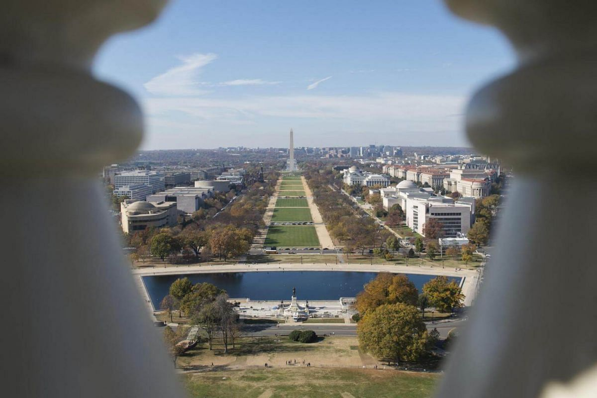 The National Mall, including the Washington Monument, is seen from the top of the newly-restored Capitol dome at the US Capitol in Washington, DC, on Nov 15, 2016.