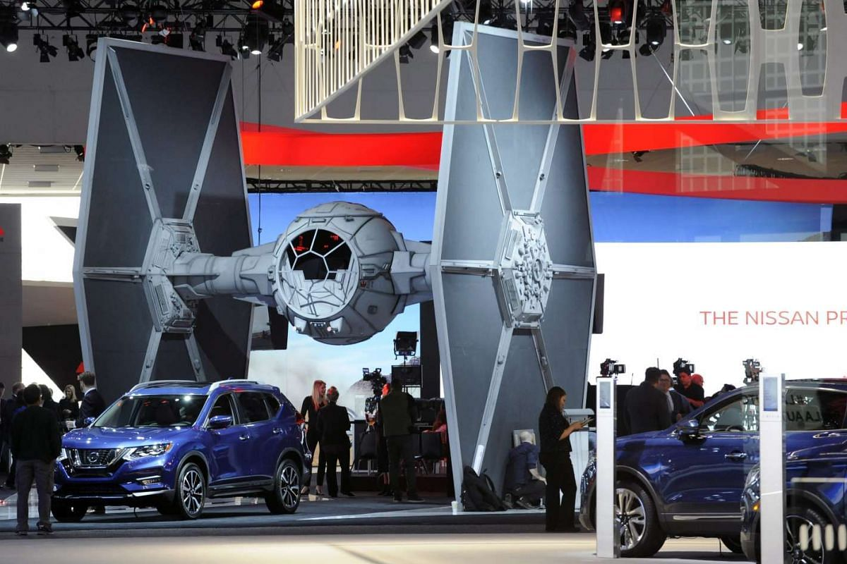 A STAR WARS Tie-Fighter is displayed at 2016 AutoMobilityLA (Los Angeles Auto Show) in Los Angeles, California, USA, November 16, 2016. AutoMobilityLA is a merger of LA Auto Show Press & Trade Days and Connected Car Expo and will be open to the publi