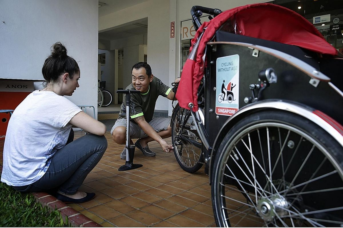 Mr Raymond Cha (above), 45, repairs and maintains the trishaw for free. He runs a bicycle shop in Veerasamy Road.