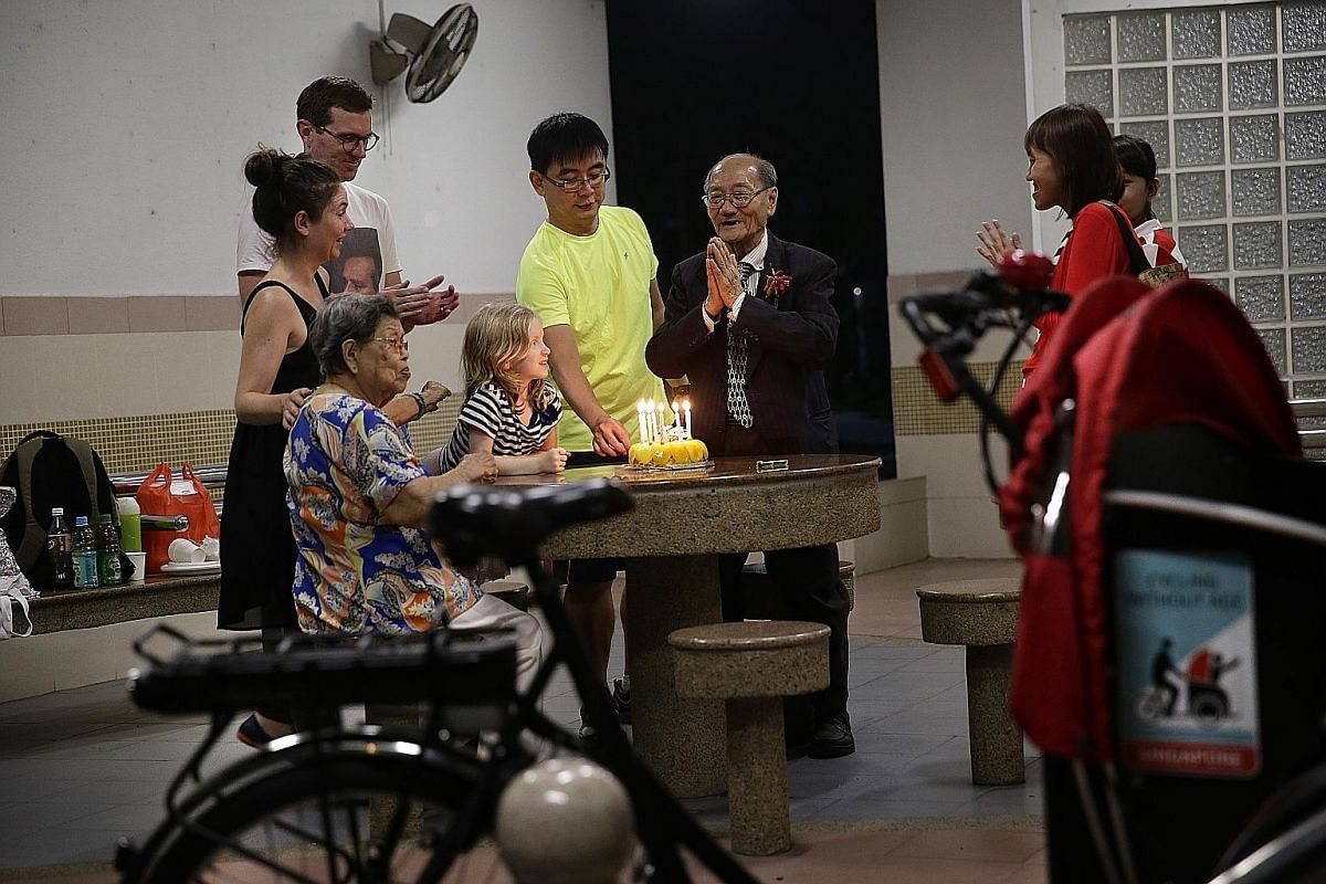 """Celebrating Mr Lee's birthday are (clockwise from bottom left) Madam Tan Geok Hak, Ms Pernille Bussone, her husband Jakob Hjortlund, their daughter Veronika, Mr Chua, Mr Lee's granddaughter Janet (partially blocked) and Mr Lee's daughter Irene. """"Even thou"""
