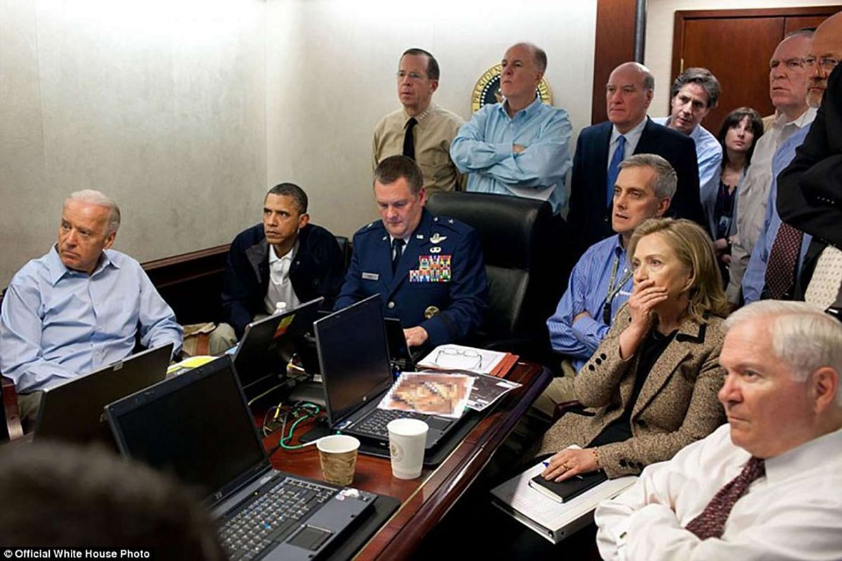 President Barack Obama and Vice President Joe Biden, along with members of the national security team, receive an update on the mission against Osama bin Laden in the Situation Room of the White House on May 1, 2011.