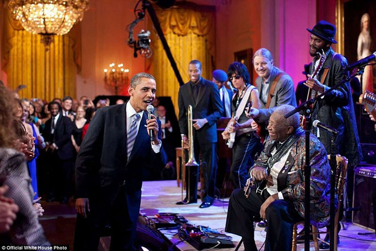US President Barack Obama duets with blues legend BB King, singing Sweet Home Chicago during the 'In Performance at the White House: Red, White and Blues' concert in the East Room on Feb 21, 2012 in Washington, DC