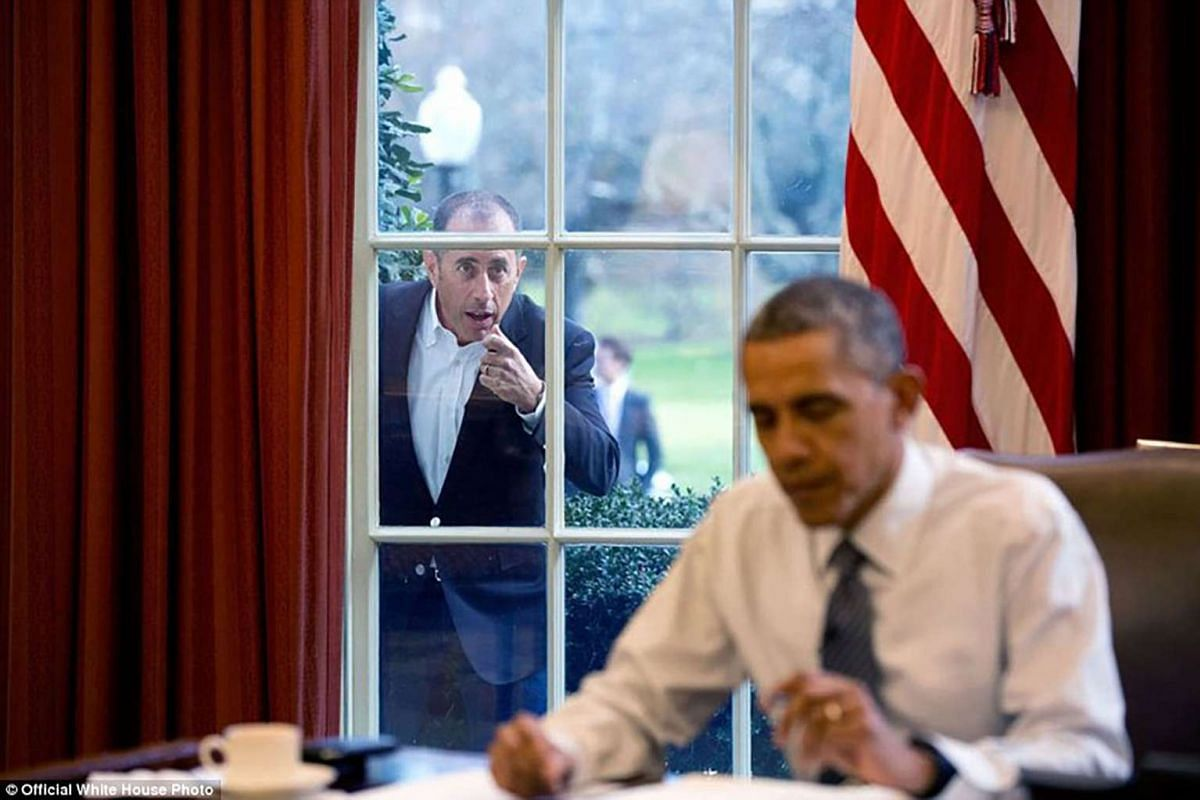 Comedian Jerry Seinfeld knocks on the Oval Office window to begin a segment for his series, Comedians in Cars Getting Coffee, on Dec 7, 2015