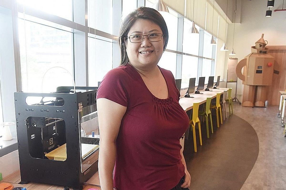 Ms Cathy Ooi has used Pixel Labs' printers to make a pendant and an organiser for her earphone cords. library@esplanade carries 24,628 movie videos which can be watched at one of the three film screening rooms there.