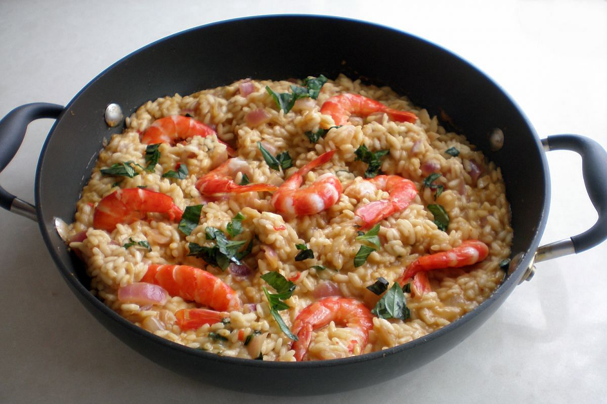 Besides stock, coconut milk was used in the risotto to give it extra creaminess.