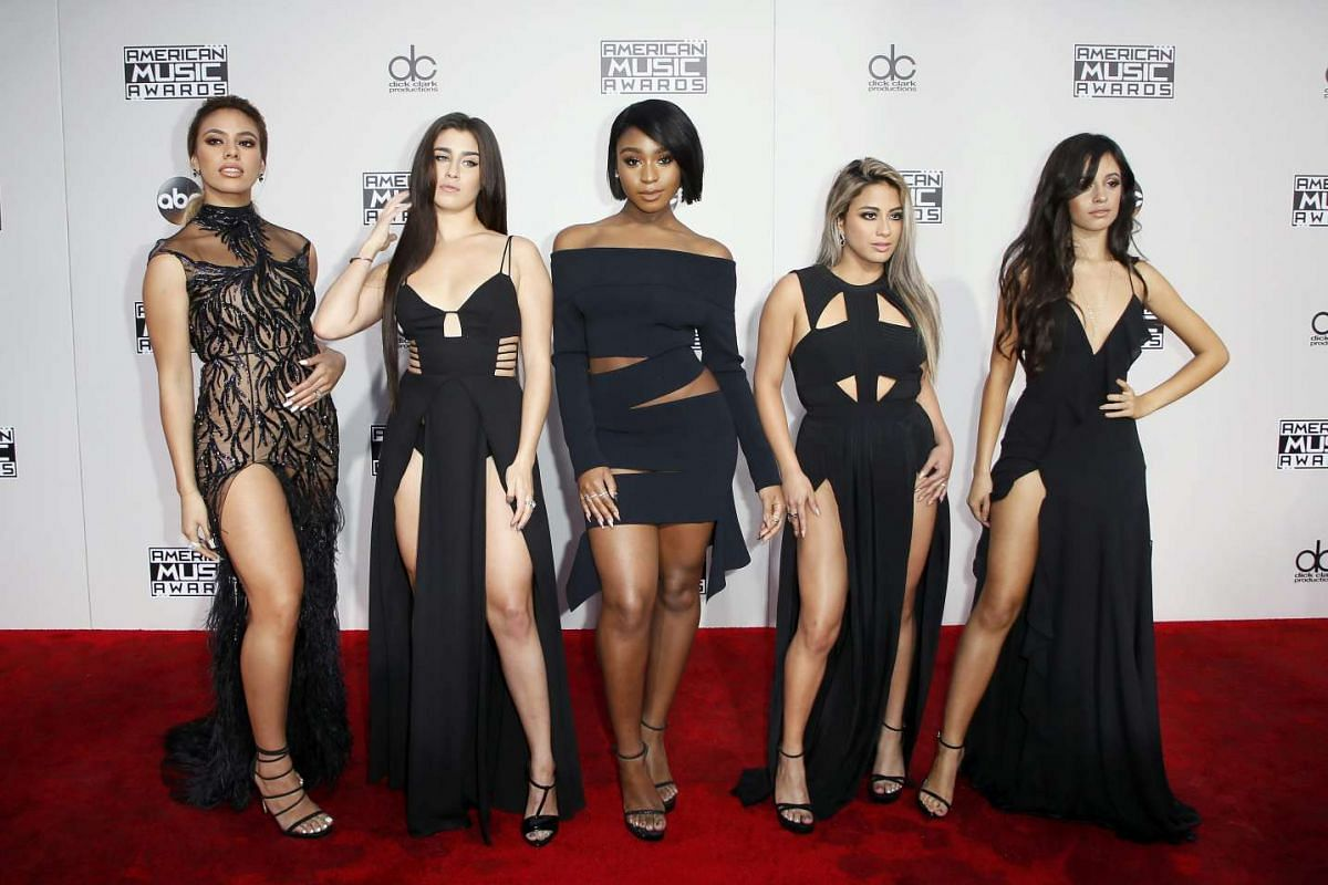 (From left) Recording artists Dinah Jane Hansen, Lauren Jauregui, Normani Hamilton, Ally Brooke and Camila Cabello of musical group Fifth Harmony arriving at the American Music Awards in Los Angeles, California, on Nov 20, 2016.