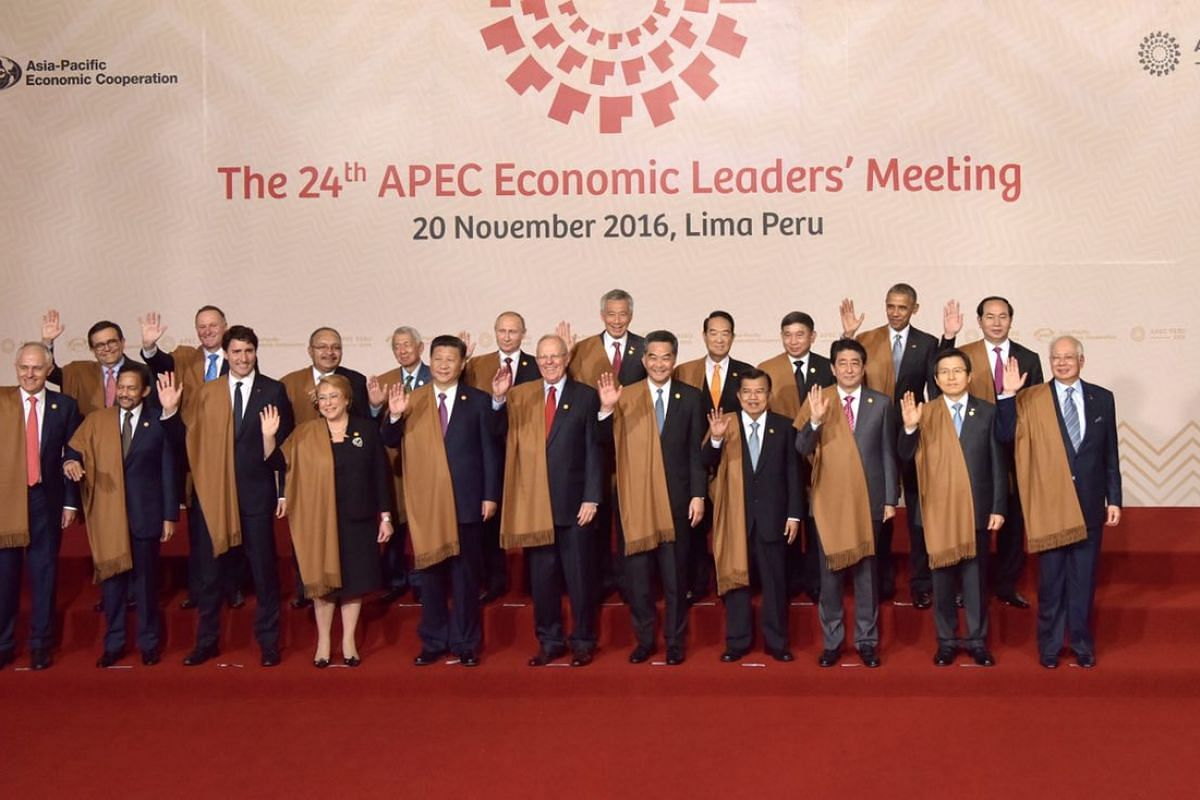 World leaders sported long, brown shawls for the traditional photo opportunity at the Apec summit in Lima, Peru, in 2016.
