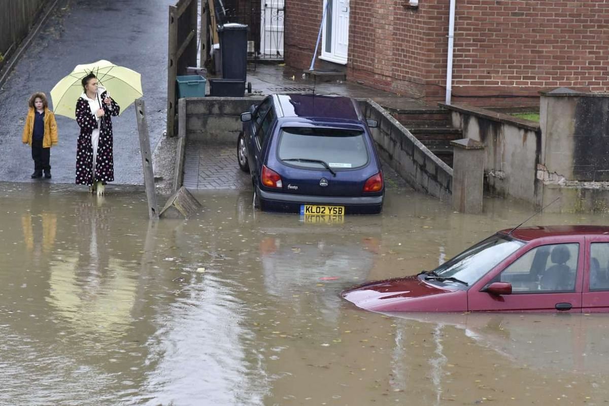 Flooded cars on the Whitchurch Lane in Bristol on Nov 21, 2016, after heavy rainfall following Storm Angus.