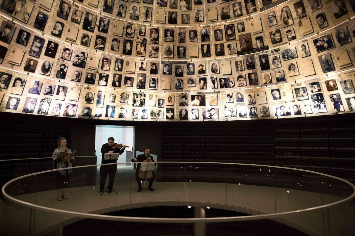 An Israeli ensemble performs a musical piece composed by Jewish Holocaust victims during a concert organised at the Yad Vashem Holocaust Memorial museum in Jerusalem on Nov 21, 2016, to commemorate the 75 years since the establishment of the Theresie