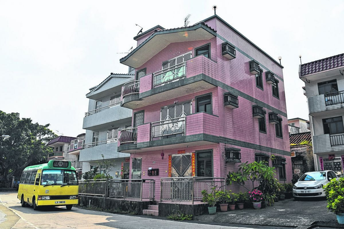 """Right: Under the 1972 """"small house"""" policy, indigenous villagers can apply to build a three-storey, 700 sq ft-per-storey house, such as this one in Sheung Shui district. Above: Mr Chan, indigenous villager of Fung Chi Tsuen village."""