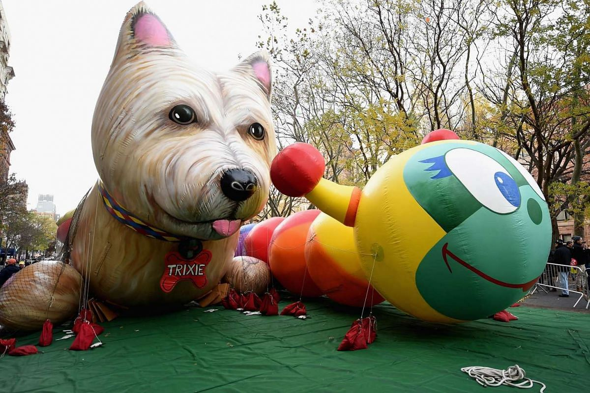 Parade balloons are seen during the 90th Anniversary Macy's Thanksgiving Day Parade Inflation Eve on Nov 23, 2016.
