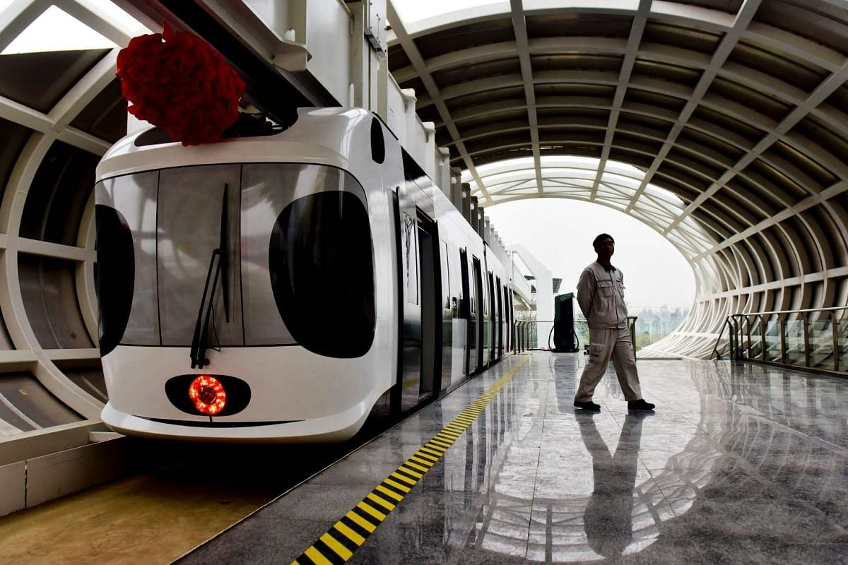 A test line of a new energy suspension railway resembling the giant panda is seen in Chengdu, Sichuan Province, China on Nov 21, 2016.