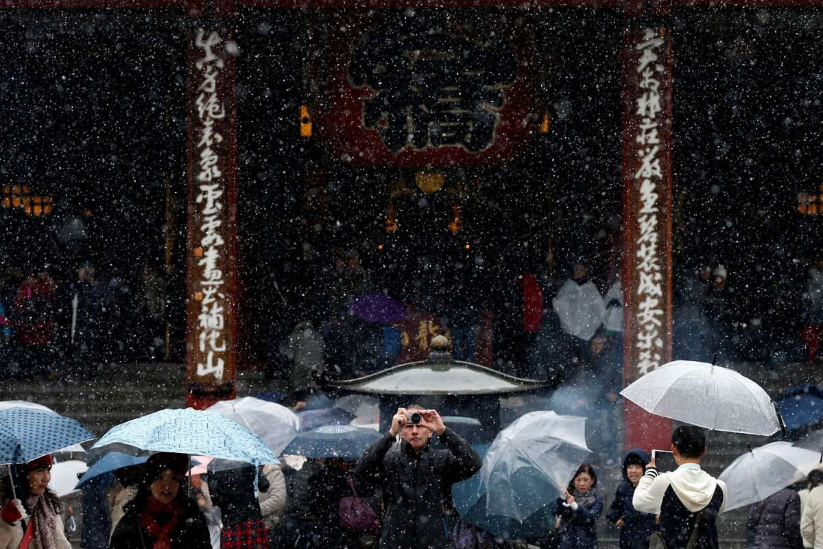 Tourists are seen during the first November snowfall in 54 years at Senso-ji Temple, in Tokyo, on Nov 24, 2016.