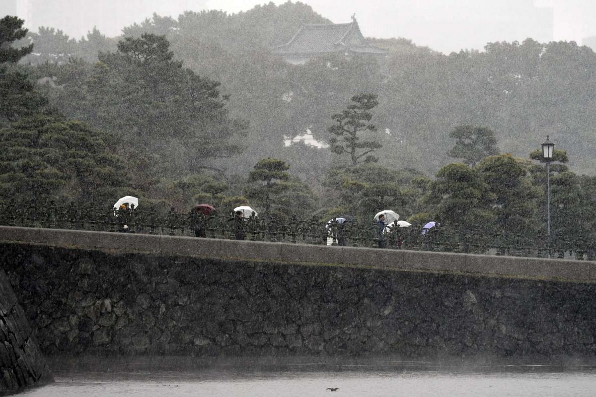 Tourists visit the surrounding gardens of the Imperial Palace during snowfall in Tokyo, on Nov 24, 2016.