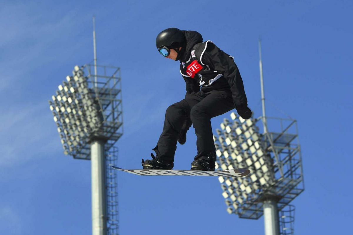 Max Parrot of Canada jumps during a training session for the FIS Snowboard World Cup Big Air event at Alpensia Ski Jumping Centre in Pyeongchang, Seoul on Nov 25, 2016.