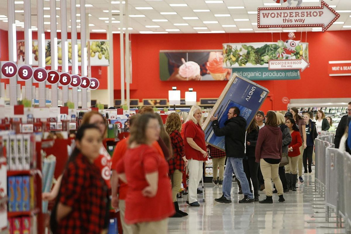 Shoppers check out with Black Friday deals at a Target store on Nov 24, 2016, in Orem, Utah.