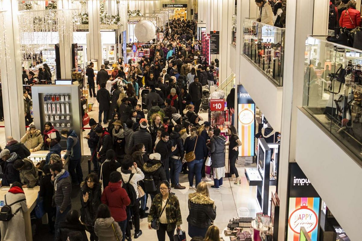 Shoppers inside Macy's Herald Square during its Black Friday sale on Thanksgiving Day in New York, on Nov 24, 2016.