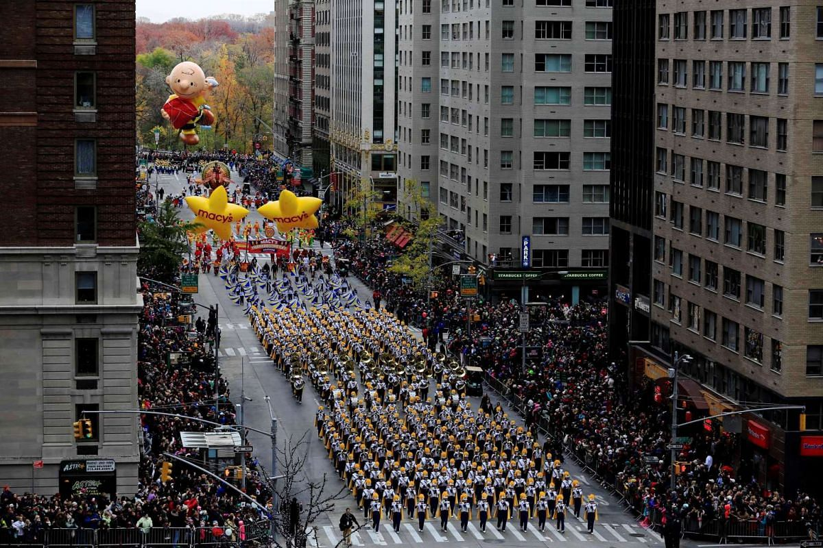 A marching band makes its way down 6th Avenue during the 90th Macy's Thanksgiving Day Parade in the Manhattan borough of New York, on Nov 24, 2016.