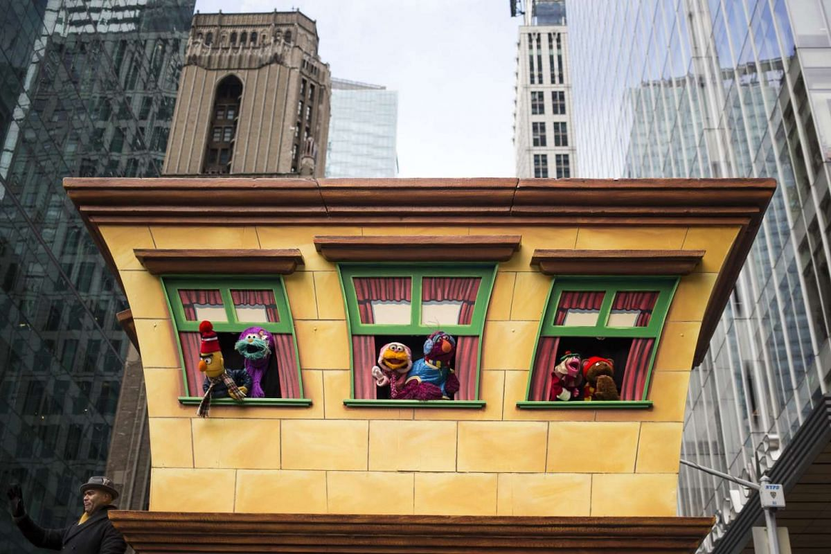 Muppets from Sesame Street pass by during the 90th annual Macy's Thanksgiving Day Parade in New York, on Nov 24, 2016.