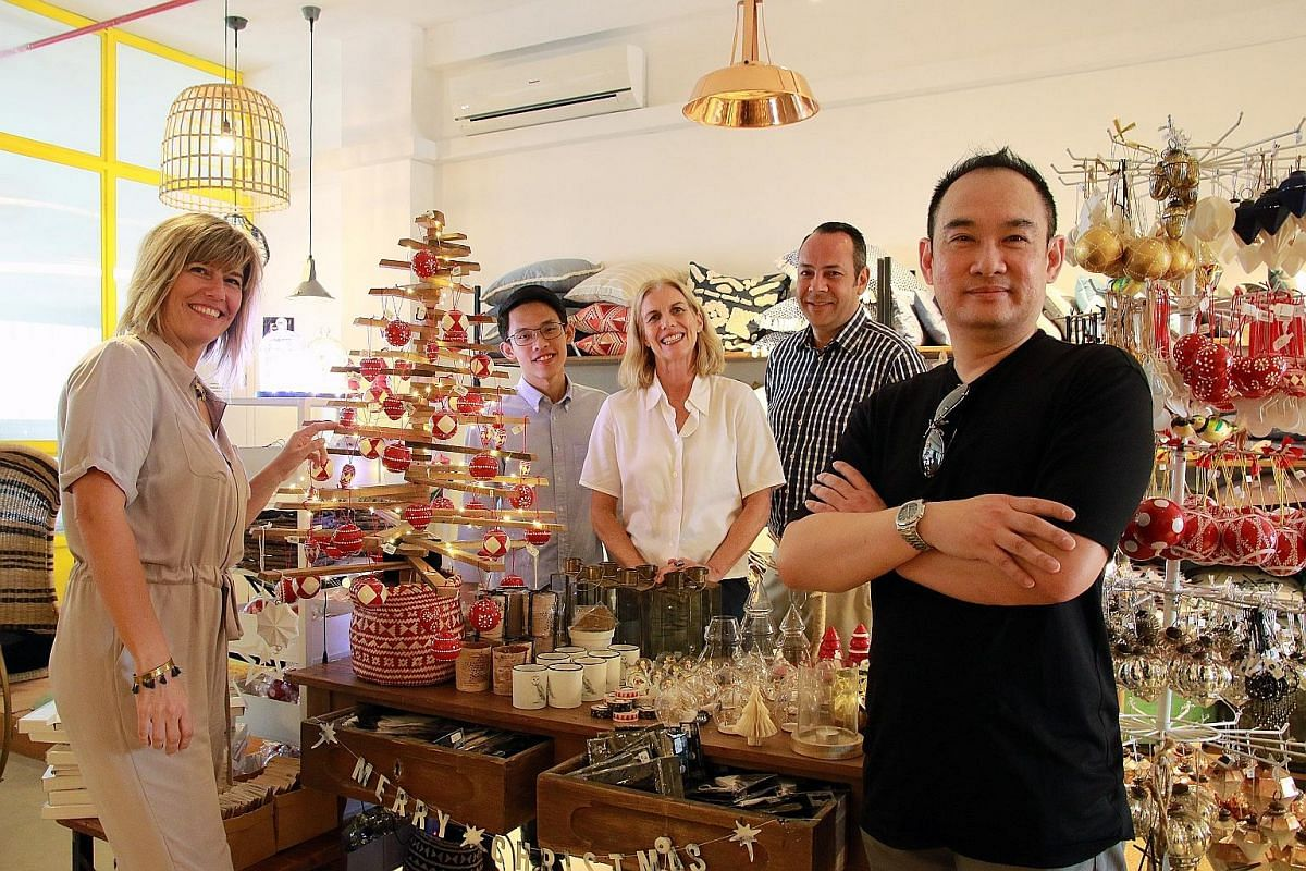 The participants in the first Tan Boon Liat Building block party include (from left) Make Room's Barbara Fritschy, Golden Teak's Ryan Yu, Bode's Jenny Lewis, The Providore's Bruce Chapman and Gamut's Christopher Looi.