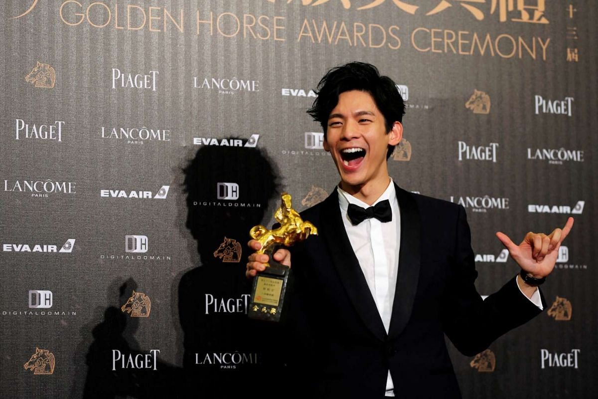 Actor Lin Po-hung poses backstage after winning Best Supporting Actor for his movie At Cafe 6 at the 53rd Golden Horse Film Awards in Taipei, Taiwan on Nov 26, 2016.