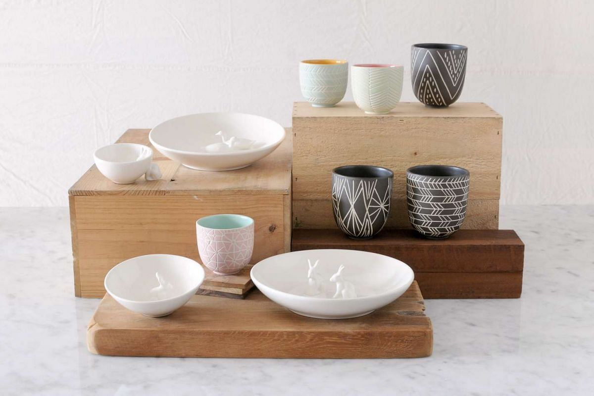 Plain Vanilla Home's ceramic pieces – Koa by Kaitlin's small cup ($45) and tall cup ($59); Xoologee's large bowl ($78) and small bowl ($30).