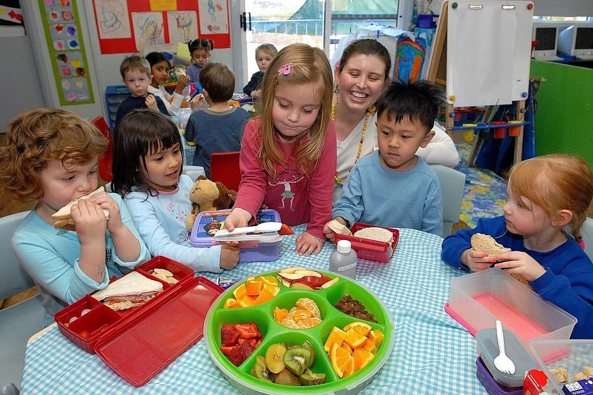 Children from the Red Robin pre-school in Eastwood having their lunches inspected to see if they are eating healthy food. According to a study this year by the University of Melbourne, childcare prices have increased 50 per cent in the past five year