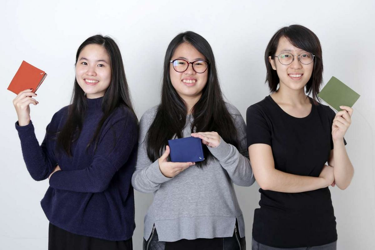 National University of Singapore industrial design students (from left) Lim Li Xue, Ng Ai Ling and Cheryl Ho created the wallet.