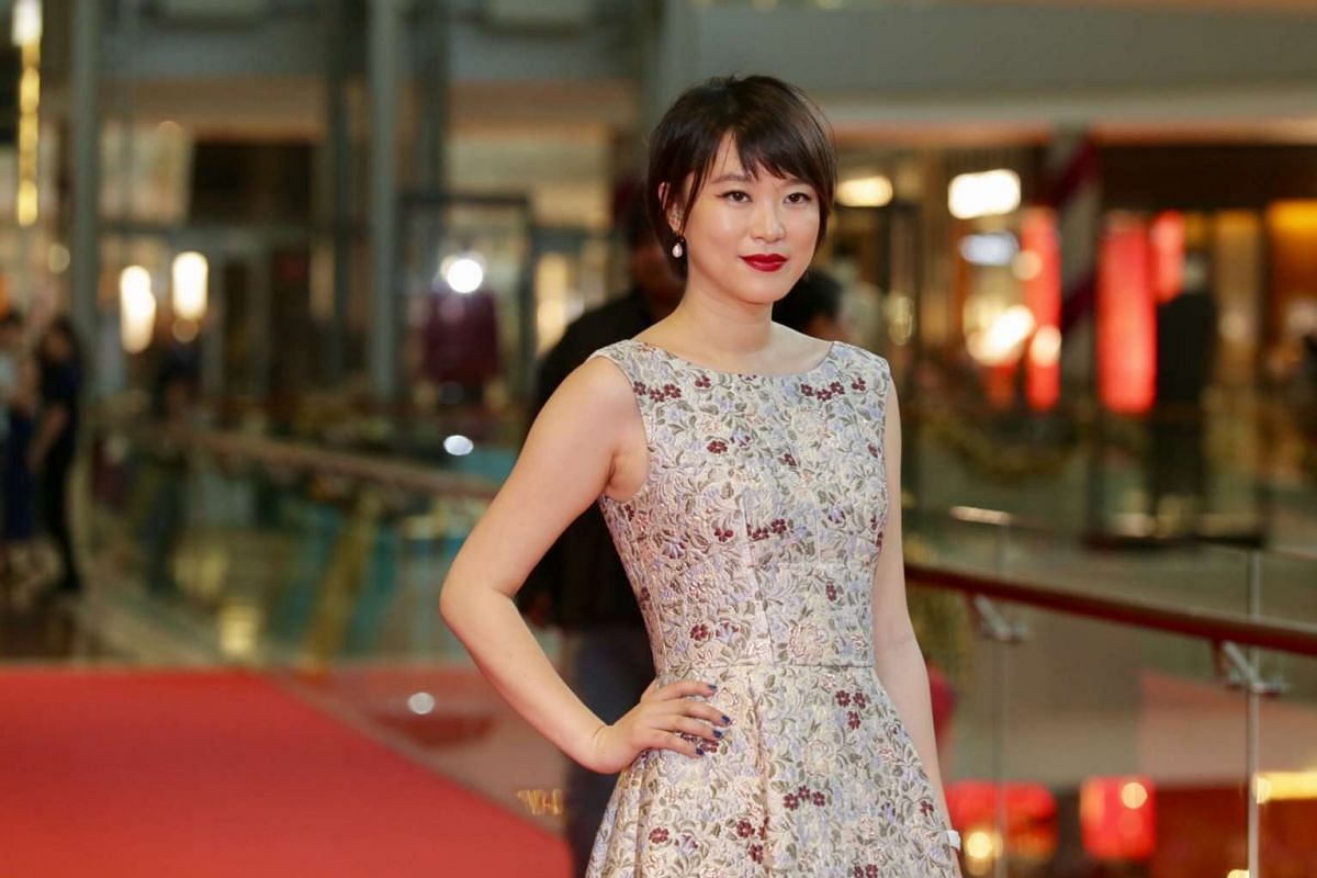 Actress Huang Lu, who starred in the film Yellow Bird, at the red carpet of the Singapore International Film Festival's Silver Screen Awards.