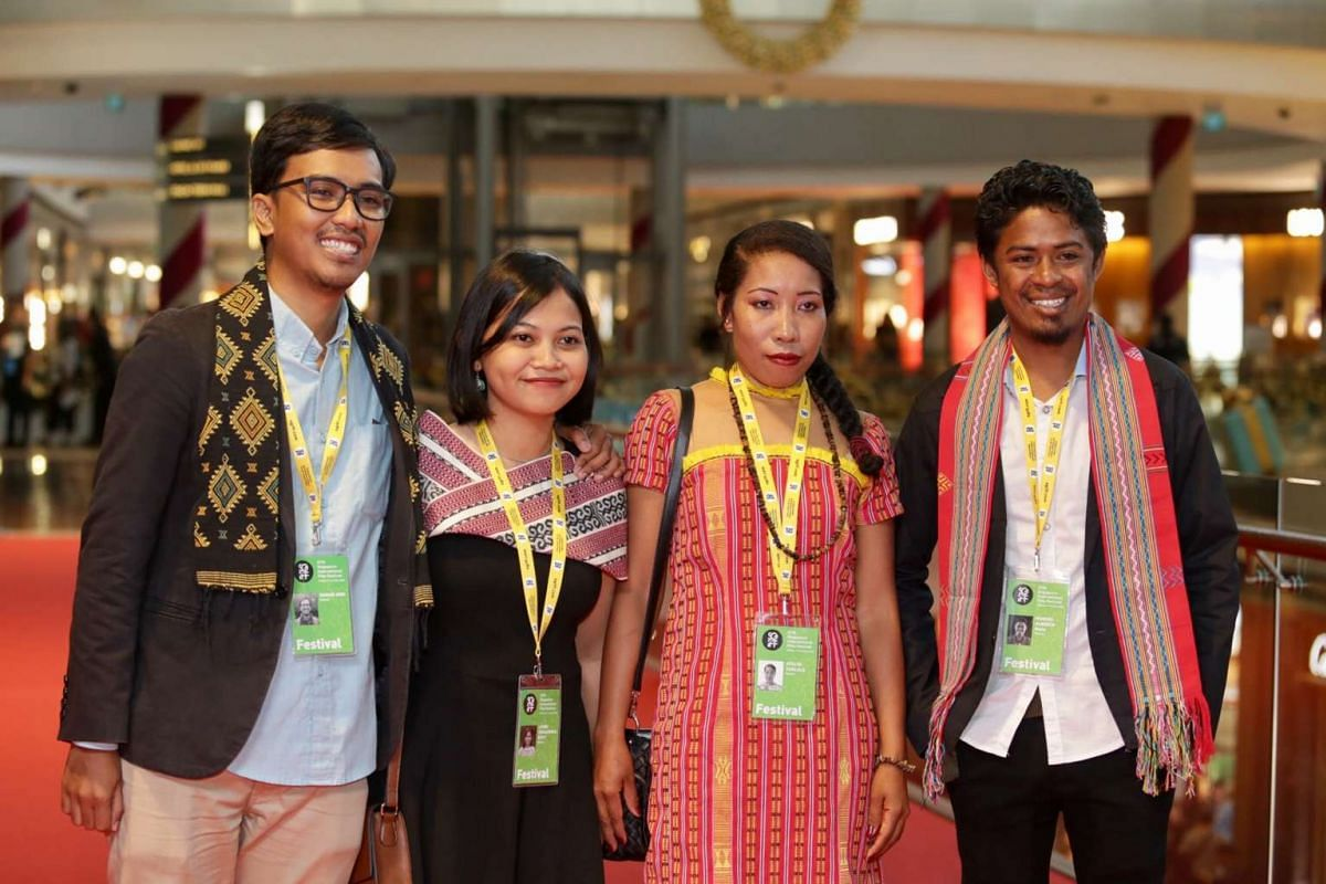 The production team behind the film Nokas at the red carpet of Singapore International Film Festival's Silver Screen Awards.