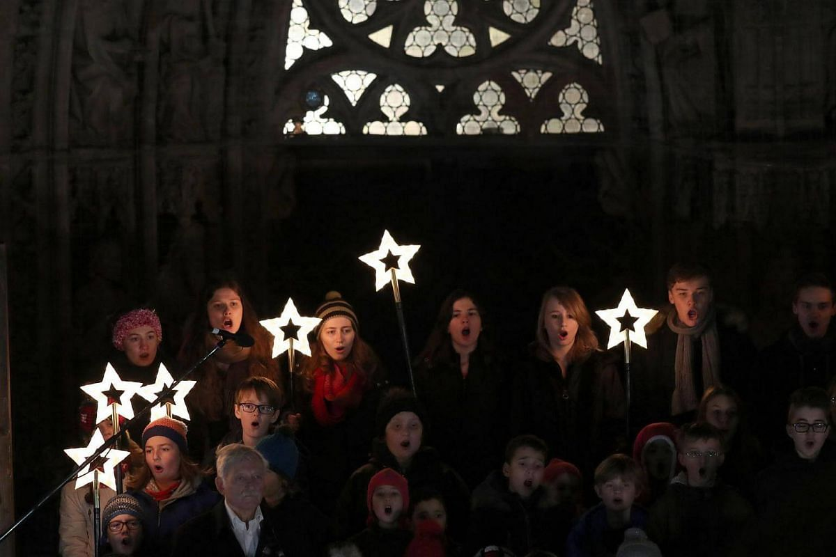 A choir performing during the opening of the Nuremberg Christmas Market in Germany, on Nov 25, 2016.
