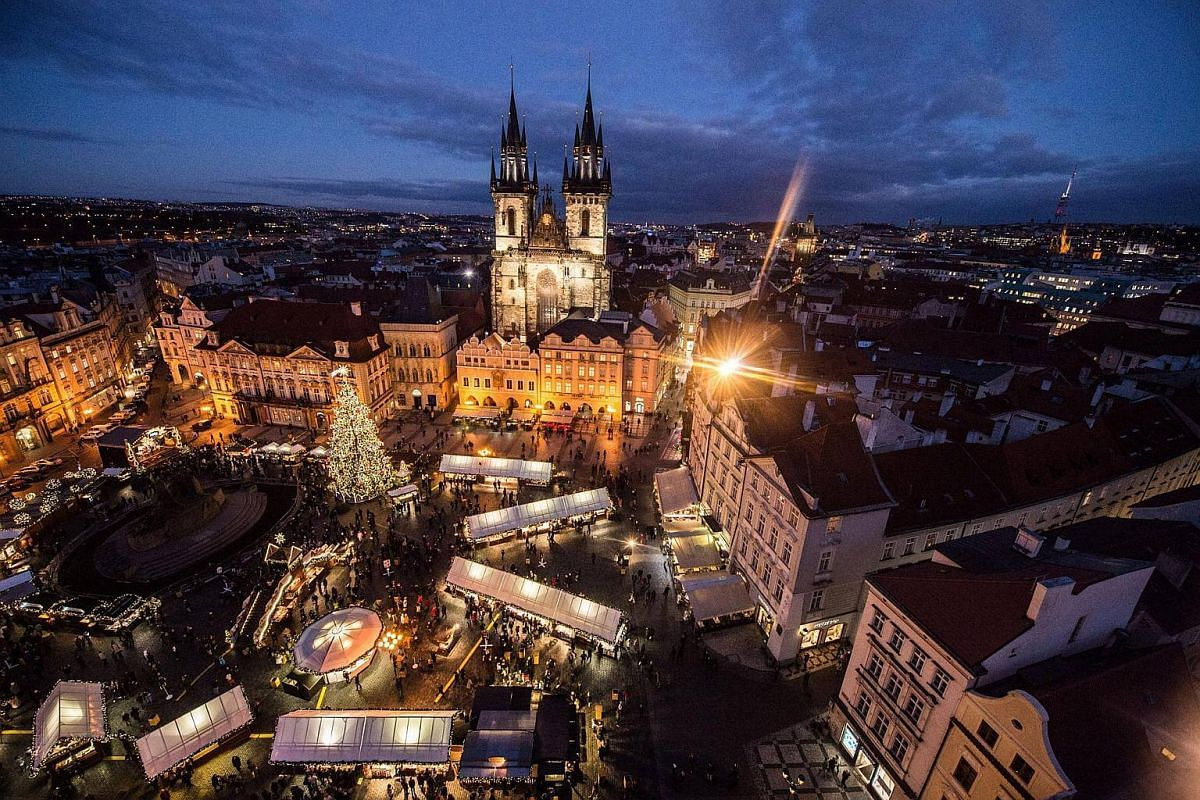 Christmas market at the Old Town Square in Prague, Czech Republic, on Nov 28, 2016.