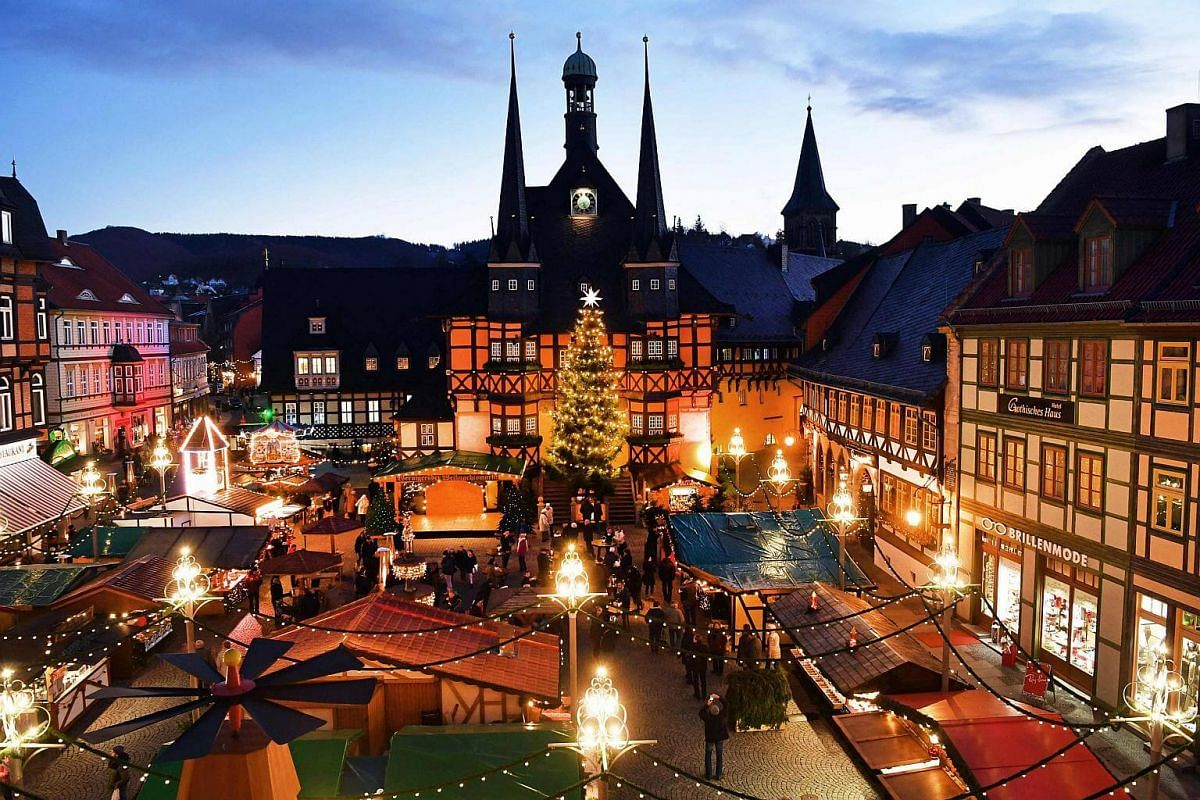 A Christmas Market in front of the historic town hall of Wernigerode, Germany, on Nov 28, 2016.