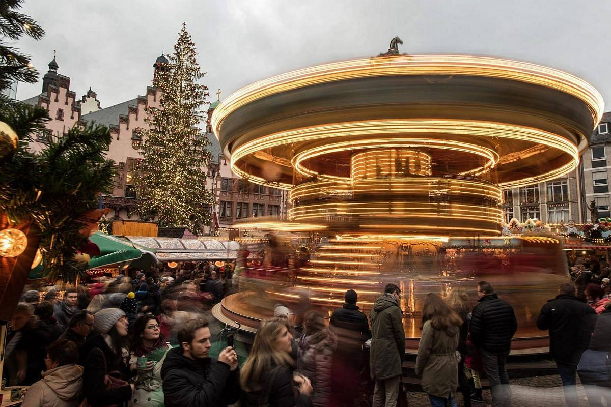 A carousel at the Christmas market in Frankfurt am Main, Germany, on Nov 27, 2016.